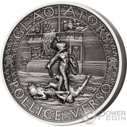 POLLICE VERSO Gladiators 2 Oz Silver Coin 5$ Solomon Islands 2017