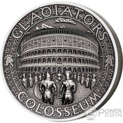COLOSSEUM Coliseo Gladiators 2 Oz Moneda Plata 5$ Solomon Islands 2017