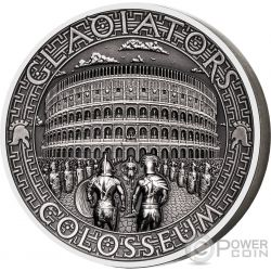 COLOSSEUM Colosseo Gladiators 2 Oz Moneta Argento 5$ Solomon Islands 2017