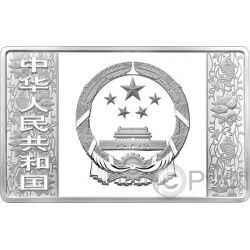LUNAR ROOSTER Gallo Rectangulo Moneda Plata 50 Yuan China 2017