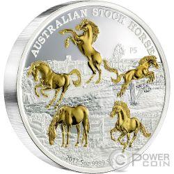 AUSTRALIAN STOCK HORSE 5 Oz Silver Coin 8$ Australia 2017