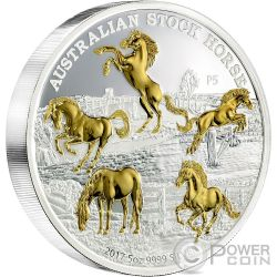 AUSTRALIAN STOCK HORSE Caballo Australiano 5 Oz Moneda Plata 8$ Australia 2017