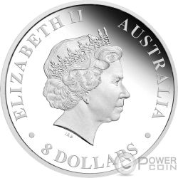 AUSTRALIAN STOCK HORSE Cavallo Australiano 5 Oz Moneta Argento 8$ Australia 2017