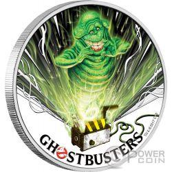 SLIMER Acchiappafantasmi Ghostbusters 1 Oz Moneta Argento 1$ Tuvalu 2017