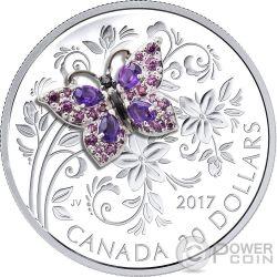 BUTTERFLY Mariposa Bejeweled Bugs 1 Oz Moneda Plata 20$ Canada 2017