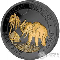 ELEPHANT Elefante Golden Enigma 1 Oz Moneda Plata 100 Shillings Somalia 2017