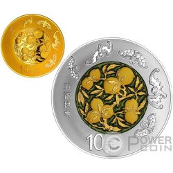 WU FU GONG SHOU Auspicious Culture Set Moneda Plata 10 Yuan Oro 100 Yuan China 2016