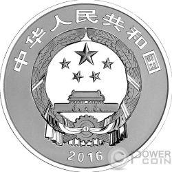 WU FU GONG SHOU Auspicious Culture Set Moneta Argento 10 Yuan Oro 100 Yuan China 2016