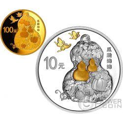 GUA DIE MIAN MIAN Auspicious Culture Set Moneta Argento 10 Yuan Oro 100 Yuan China 2016