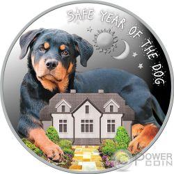 SAFE YEAR OF THE DOG Anno Cane Lunar Calendar Moneta Argento 100 Denars Macedonia 2018