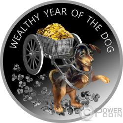 WEALTHY YEAR OF THE DOG Anno Cane Lunar Calendar Moneta Argento 100 Denars Macedonia 2018