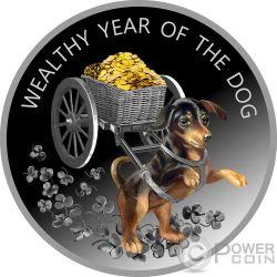 WEALTHY YEAR OF THE DOG Perro Lunar Calendar Moneda Plata 100 Denars Macedonia 2018