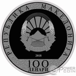 WEALTHY YEAR OF THE DOG Anno Cane Lunar Calendar Moneta Argento 100 Denars Macedonia 2018
