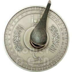 MECCA QIBLA COMPASS Magnetic COTY Münze Of The Year 2012 Silber 1000 Francs Ivory Coast 2010