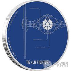 TIE LN FIGHTER Caza Star Wars Ships 1 Oz Moneda Plata 2$ Niue 2017