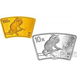 LUNAR MONKEY Mono Fan Set 1 Oz Moneda Plata 10 Yuan Oro 150 Yuan China 2016