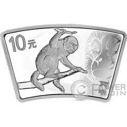 LUNAR MONKEY Fan 1 Oz Серебро Монета 10 Юаней Китай 2016