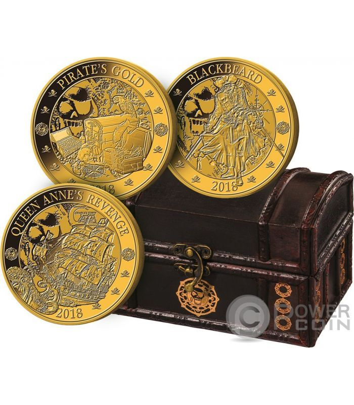Pirates Set Gilded Gold Plated Coins 25 Cents Barbados 2018 Power Coin