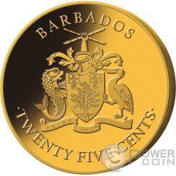 PIRATES Set Monedas Doradas Chapado Oro 25 Centavos Barbados 2018