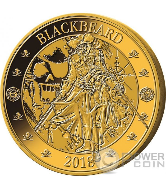 Pirates Set Gilded Gold Plated Münzen 25 Cents Barbados 2018 Power