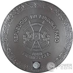 LUNAR METEORITE NWA 10546 Meteorito Nano Chip 1 Oz Moneda Plata 1000 Francos Burkina Faso 2016