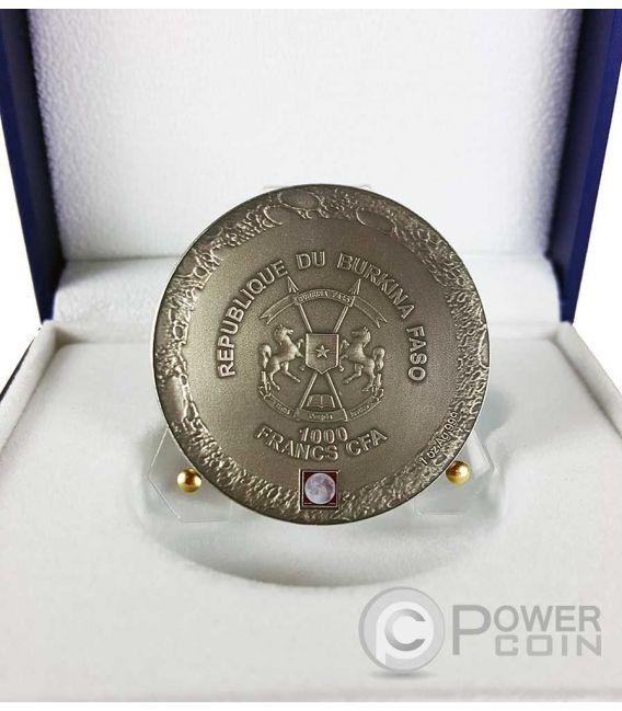 LUNAR METEORITE NWA 10546 Nano Chip 1 Oz Silver Coin 1000 Francs Burkina Faso 2016