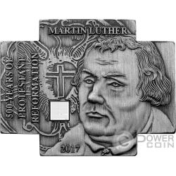 MARTIN LUTHER Nano Biblia Chip 500 Reforma Moneda Chapado Plata 100 Francos Cameroon 2017