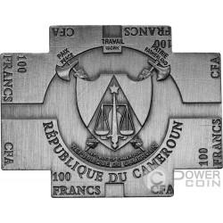 MARTIN LUTHER Nano Bibbia Chip 500 Anni di Riforma Moneta Placcata Argento 100 Franchi Cameroon 2017