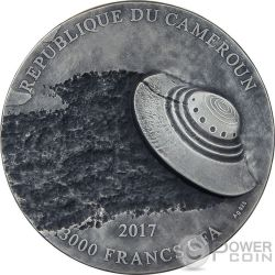 ROSWELL INCIDENT 70 Aniversario UFO 3 Oz Moneda Plata 3000 Francos Cameroon 2017