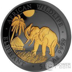 ELEPHANT Elefante Golden Enigma 5 Oz Moneta Argento 500 Shillings Somalia 2017