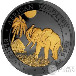 ELEPHANT Golden Enigma 5 Oz Silver Coin 500 Shillings Somalia 2017