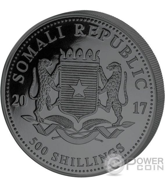 ELEPHANT Golden Enigma 5 Oz Silver Coin 500 Shillings Somalia 2017