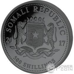 ELEPHANT Elefante Golden Enigma 5 Oz Moneda Plata 500 Shillings Somalia 2017