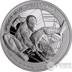 SPIDERMAN Uomo Ragno Homecoming Marvel 1 Oz Moneta Argento 5$ Cook Islands 2017