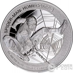 SPIDERMAN Homecoming Marvel 5 Oz Silver Coin 25$ Cook Islands 2017