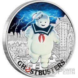 STAY PUFT Uomo Marshmallow Acchiappafantasmi Ghostbusters 1 Oz Moneta Argento 1$ Tuvalu 2017
