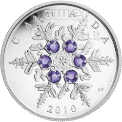 SNOWFLAKE TANZANITE Silver Coin Swarovski 20$ Canada 2010