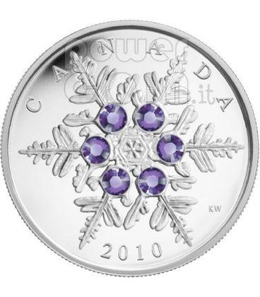 SNOWFLAKE TANZANITE Moneta Argento Swarovski 20$ Canada 2010