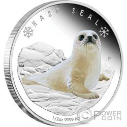 HARP SEAL Dichtung Polar Babies Silber Münze 50 Cents Tuvalu 2017