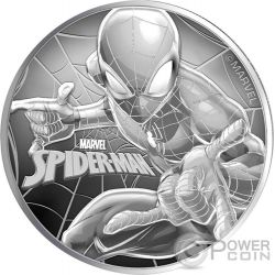 SPIDERMAN Uomo Ragno Marvel 1 Oz Moneta Argento 1$ Tuvalu 2017