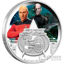 STAR TREK Next Generation 30 Anniversario 1 Oz Moneta Argento 1$ Tuvalu 2017