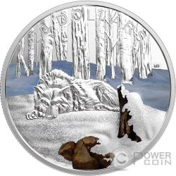 ARCTIC WOLF Lupo Artico Glistening North 1 Oz Moneta Argento 20$ Canada 2017