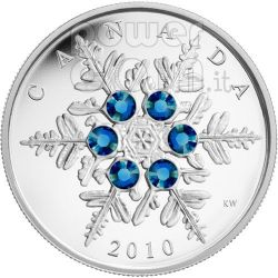 SNOWFLAKE BLUE Moneta Argento Swarovski 20$ Canada 2010