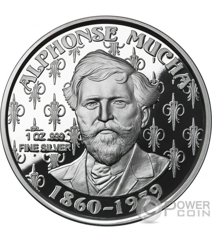 job alphonse mucha collection 1 oz proof silber medal 2017 power coin. Black Bedroom Furniture Sets. Home Design Ideas