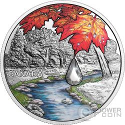 SUGAR MAPLE LEAVES Jewel Of The Rain Swarovski 1 Oz Silver Coin 20$ Canada 2017