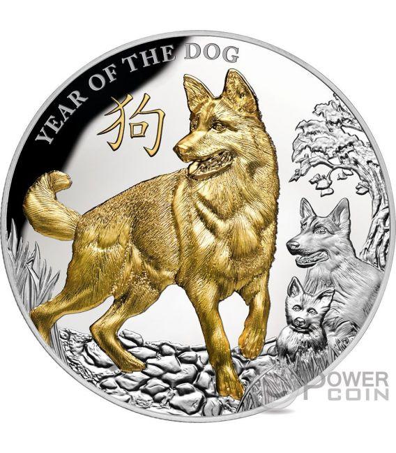 YEAR OF THE DOG Jahr de Hund Lunar 5 Oz Silber Münze 8$ Niue 2018