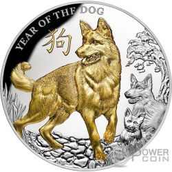 YEAR OF THE DOG Anno Cane Lunar 5 Oz Moneta Argento 8$ Niue 2018