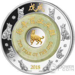 DOG Cane Giada Jade Lunar Year 2 Oz Moneta Argento 2000 Kip Laos 2018