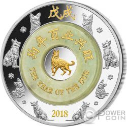 DOG Perro Giada Jade Lunar Year 2 Oz Moneda Plata 2000 Kip Laos 2018