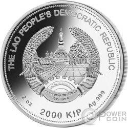DOG Jade Lunar Year 2 Oz Серебро Монета 2000 Кип Лаос 2018